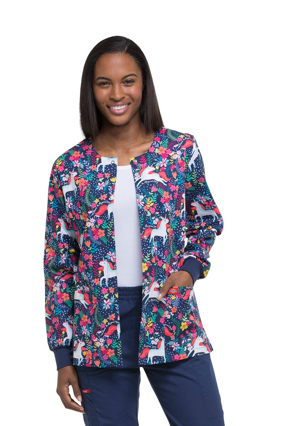 Dickies EDS Signature Women's Snap Front Warm-Up Floral Print Scrub Jacket Small Print