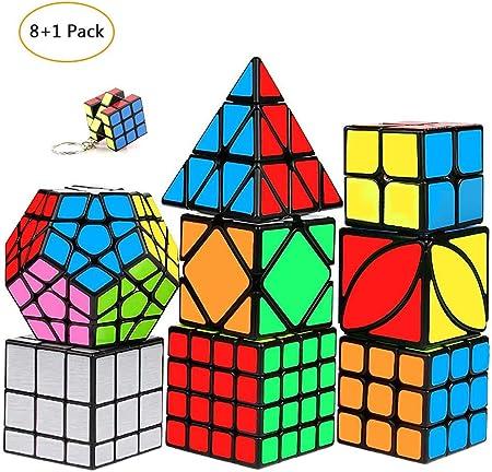 mimisasa Speed Cubes Set 9 Pack: 2x2 , 3x3 Pyramid Megaminx, 4x4, Ivy dados, Skweb Cube, Dice Mirror