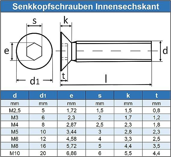 M5 x 40 mm Senkkopfschrauben mit Innensechsrund TX Vollgewinde Eisenwaren2000 100 St/ück rostfrei Gewindeschrauben ISO 14581 Senkkopf Schrauben T25 - DIN 965 Edelstahl A2 V2A