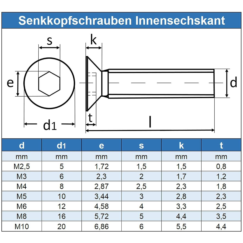 rostfrei - DIN 7991 20 St/ück Eisenwaren2000 Edelstahl A2 V2A M6 x 60 mm Senkkopfschrauben mit Innensechskant ISO 10642 Senkkopf Schrauben Gewindeschrauben Vollgewinde