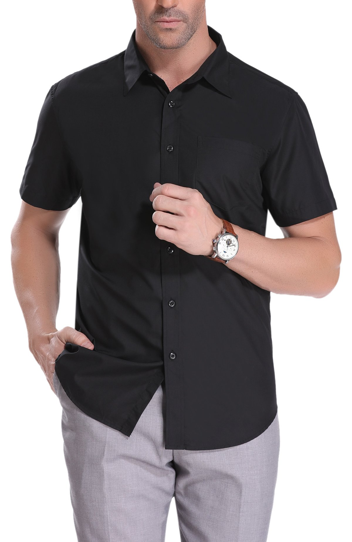 iClosam Men's Casual Short Sleeve Long Sleeve Button Down Shirt Collar Dress Shirt (Black, XX-Large)