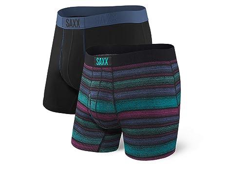 84d55e6c149 Saxx Underwear Men s Ultra 2-Pack Boxer Brief Crossgrain Stripe (Medium)