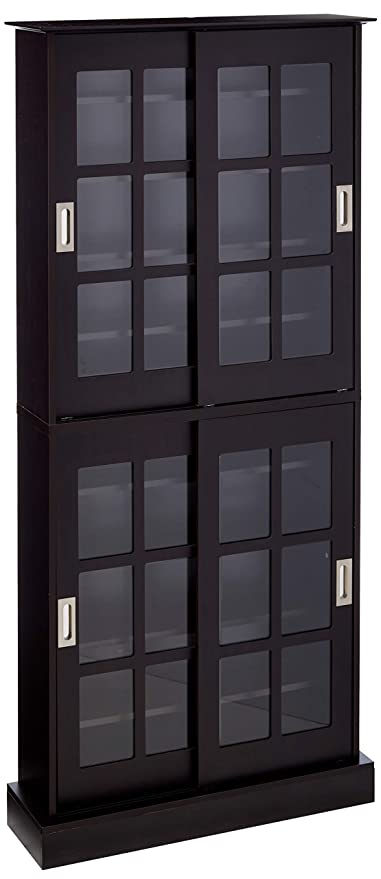 amazon com atlantic windowpane 720 multimedia storage wood cabinet