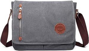 13 Inch Vintage Men's Canvas Messenger Bag Laptop Shoulder Satchel Crossbody Sling Bookbag School Bag Briefcase Laptop Bag (Grey)