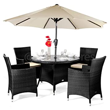 Superb Cannes Rattan Round 4 Seater Dining Set Brown With Parasol Brown Rattan Garden Furniture Set 4 Seater Dining Set Outdoor Patio Table And Chair Interior Design Ideas Inesswwsoteloinfo
