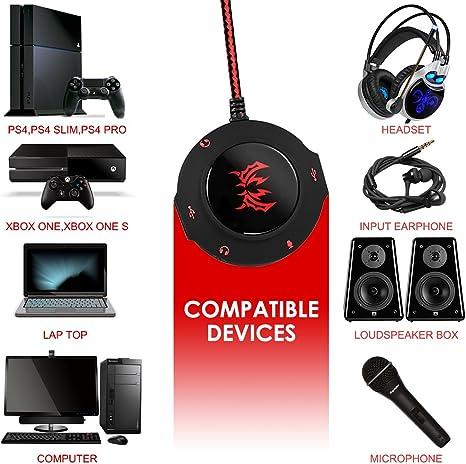 Rojo Conecta y Reproduce KOTION EACH 2.0 Tarjeta de sonido externa USB Cable Adaptador de Audio Est/éreo para PC Laptop Desktop Tablet PS4 Windows Mac IOS de AFUNTA