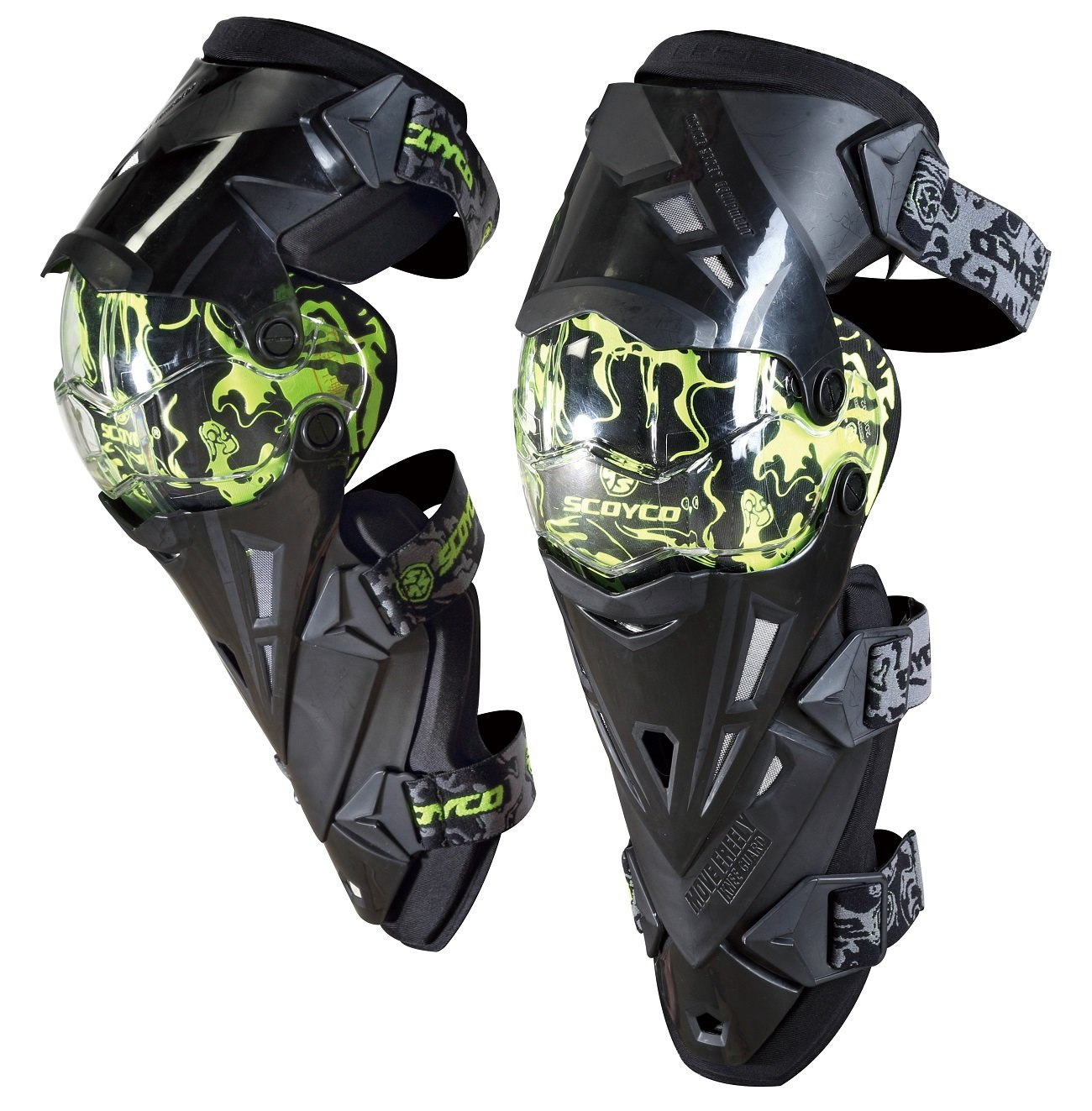 CRAZY AL'S SCOYCO K12(PRO) Motorcycle Knee and Shin Protector ATV Motocross Knee Pads Sports Scooter Motor-Racing Guard Safety Knee Pads (Green)