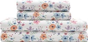 Elite Home Microfiber Watercolor Floral Sheet Set, Full Floral