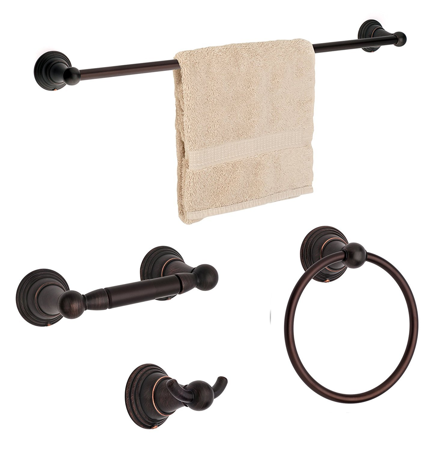 DYN-2211-ORB Dynasty Hardware Muirfield Towel Bar Collection Oil Rubbed Bronze Towel Ring