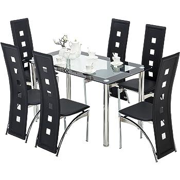 Amazoncom Mecor Dining Room Table Set Piece Glass Kitchen - All glass dining room table