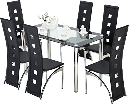 Amazon Com Mecor 7 Piece Kitchen Dining Set Glass Top Table With 6 Leather Chairs Breakfast Furniture Black Table Chair Sets