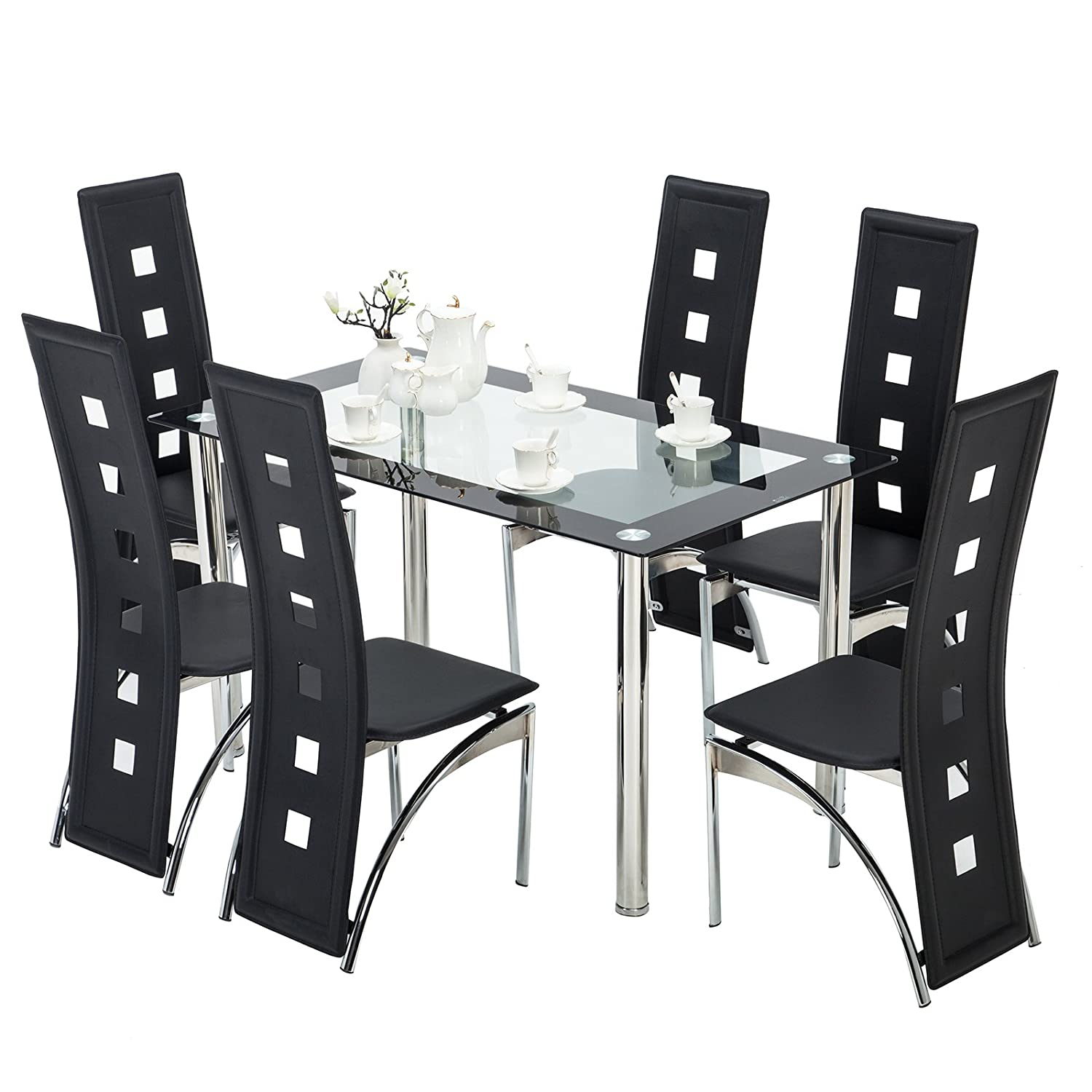 Amazon com mecor 7 piece kitchen dining set glass top table with 6 leather chairs breakfast furniture table chair sets