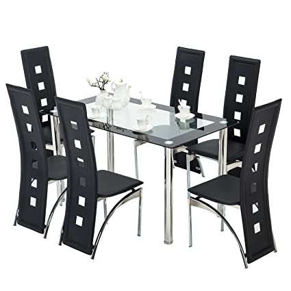 Mecor 7 Piece Kitchen Dining Set, Glass Top Table With 6 Leather Chairs  Breakfast Furniture