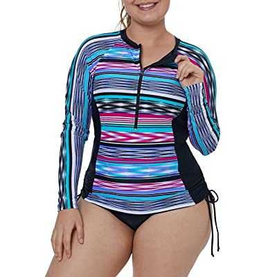 XAKALAKA Women's Plus Size Zip-Front Multicolor Striped Long Sleeve Tankini Rashguard Top S-XXXL at Women's Clothing store
