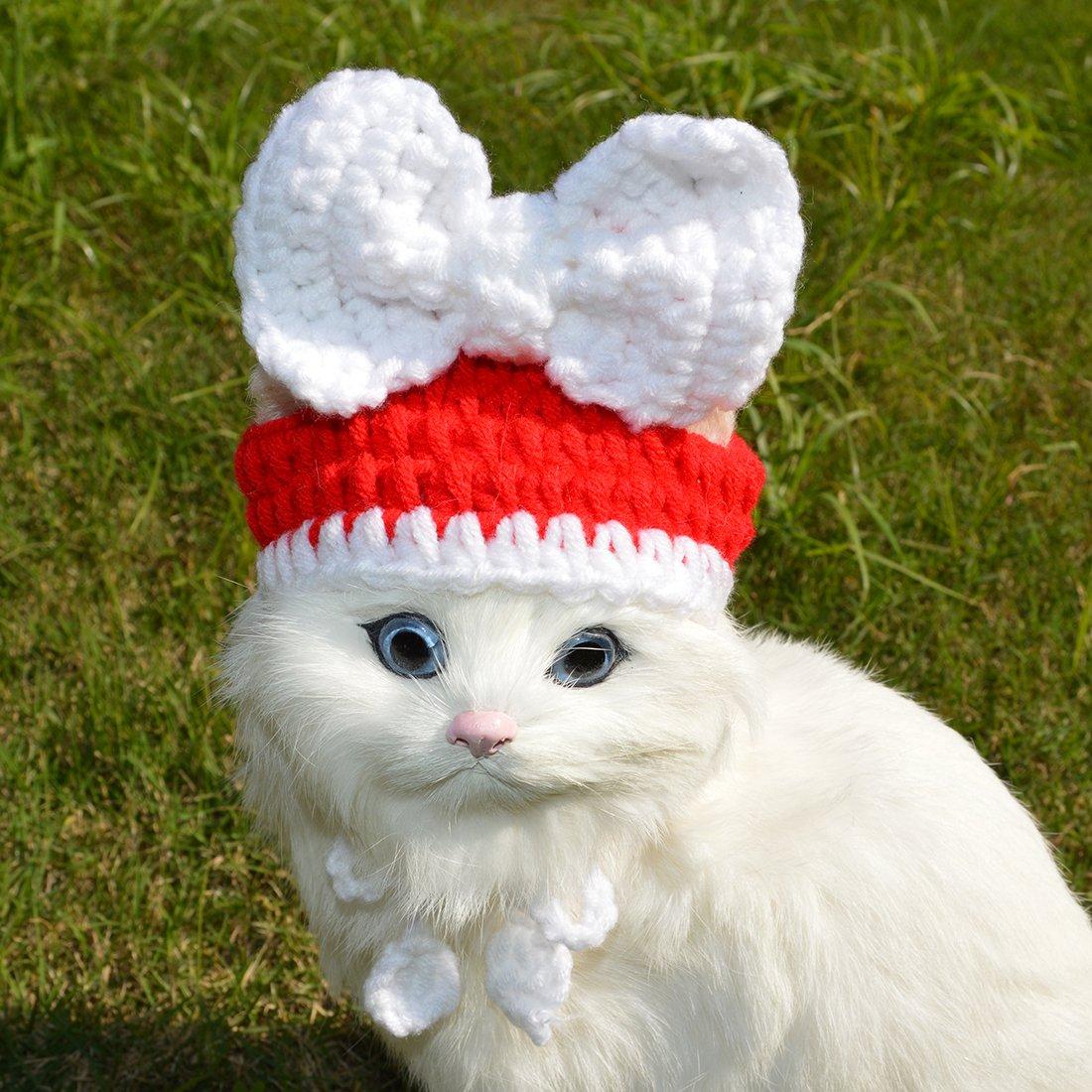 Pet Christmas Hat Cat Yarn Costume Santa Hat, Green Red Xmas Handmade Autumn Winter Warm Cute Cap Apparel for Pets Christmas Party,Small Medium