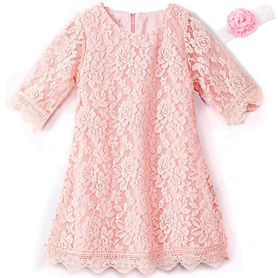 KISSOURBABY Girls Lace Flower Dress Casual Crew Neck Floral A-Line Party Dress