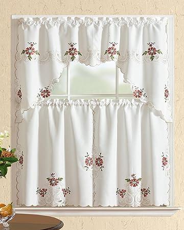 All American Collection Modern Bestickt 3 Küche Vorhang Set mit Swag ...