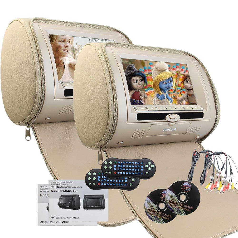 Eincar 2PCSひと組:ヘッドレストモニター ポータブルDVD/CDプレーヤー 7インチHDデジタルスクリーン マルチメディア:ビデオ/動画/オーディオシステム IR FMトランスミッター 32ビットゲーム対応 ワイヤレスリモコン付き B01NGTJWS3
