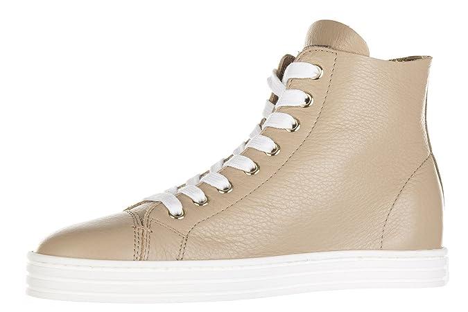 Chaussures baskets sneakers hautes femme en cuir r182 sfoderato Hogan Rebel LQlFIiL