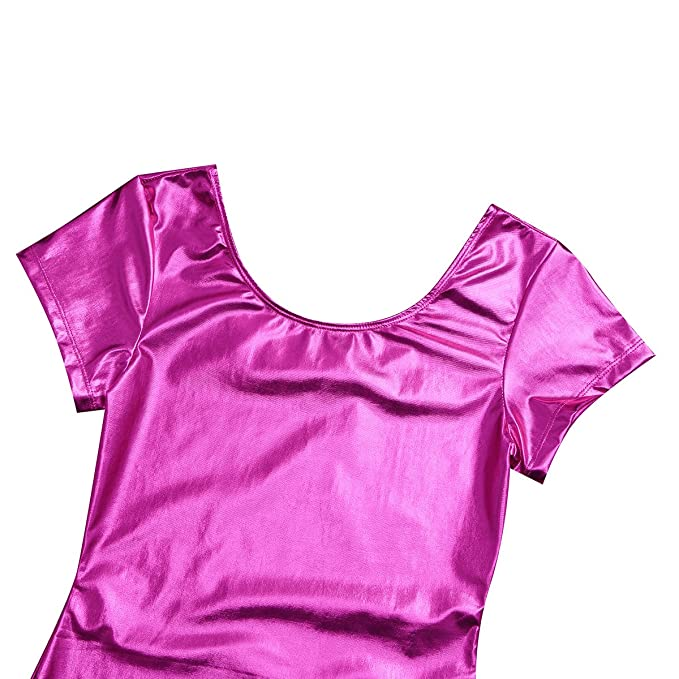 iixpin Justaucorps Gymnastique Femme Gym Yoga Dancewear Body Bodysuit  String Cuir Verni sous-vêtement Manches Courtes Top Blouse Chemisier  Combinaison  ... 0255dcc0569