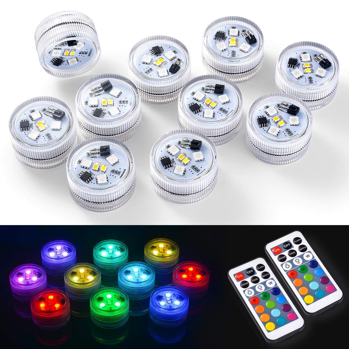 10pcs Submersible LED Lights 100% Waterproof CR2450 Mood Light Underwater Lights Battery Powered with IR Remote Control for Vase,Fishtank,Wedding,Halloween,Christmas
