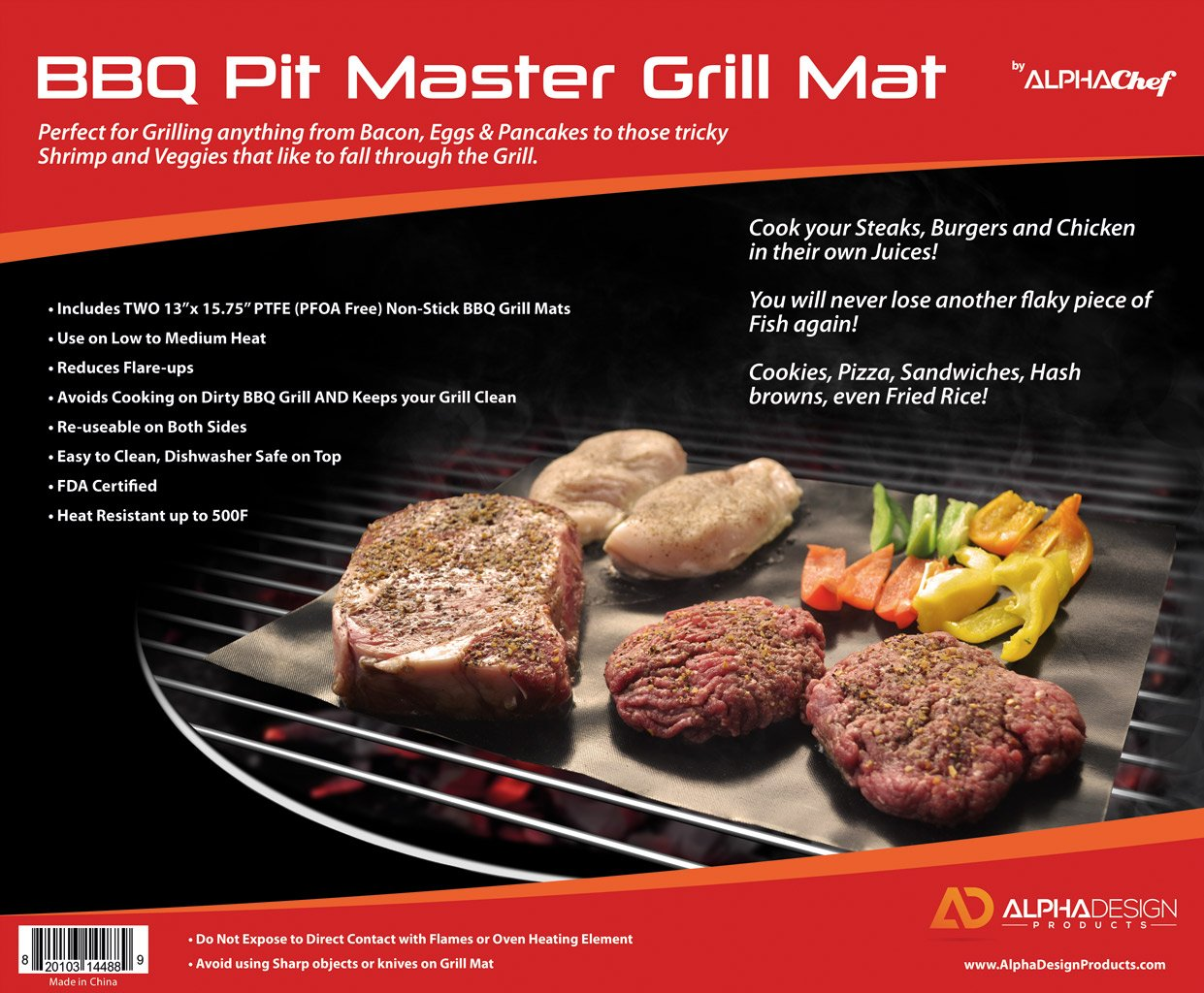amazon com grill mats by alpha chef set of 2 non stick bbq