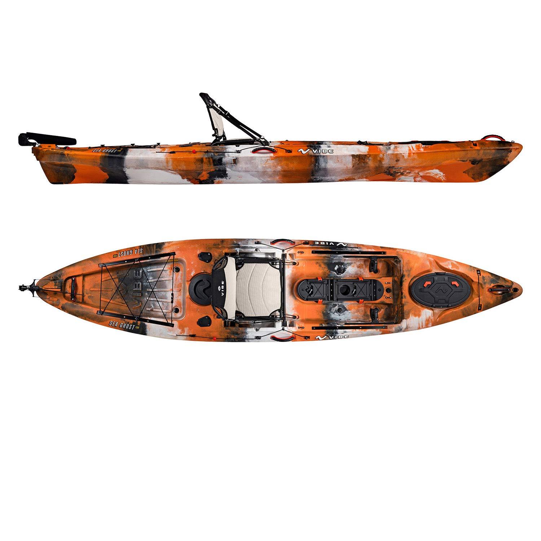 Vibe Kayaks Sea Ghost 130 | 13 Foot | Angler Sit On Top Fishing Kayak with Paddle and Adjustable Hero Comfort Seat (Orange Camo)