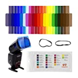 FOSOTO 20pcs Flash Speedlite Color Gels Filters Compatible for Canon Nikon Sony Godox Yongnuo Camera Flash Light
