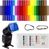 FOSOTO 20pcs Flash Speedlite Color Gels Filters for Canon Nikon Sony Godox Yongnuo Camera Flash Light