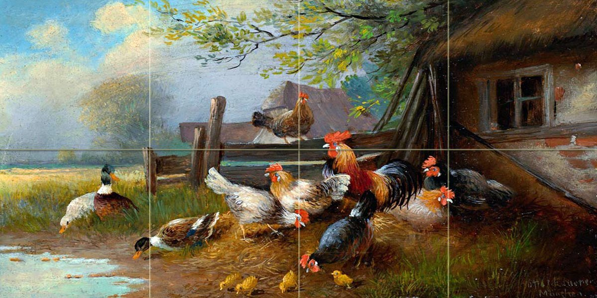 Poultry Farm Rooster Tile Mural Kitchen Bathroom Wall