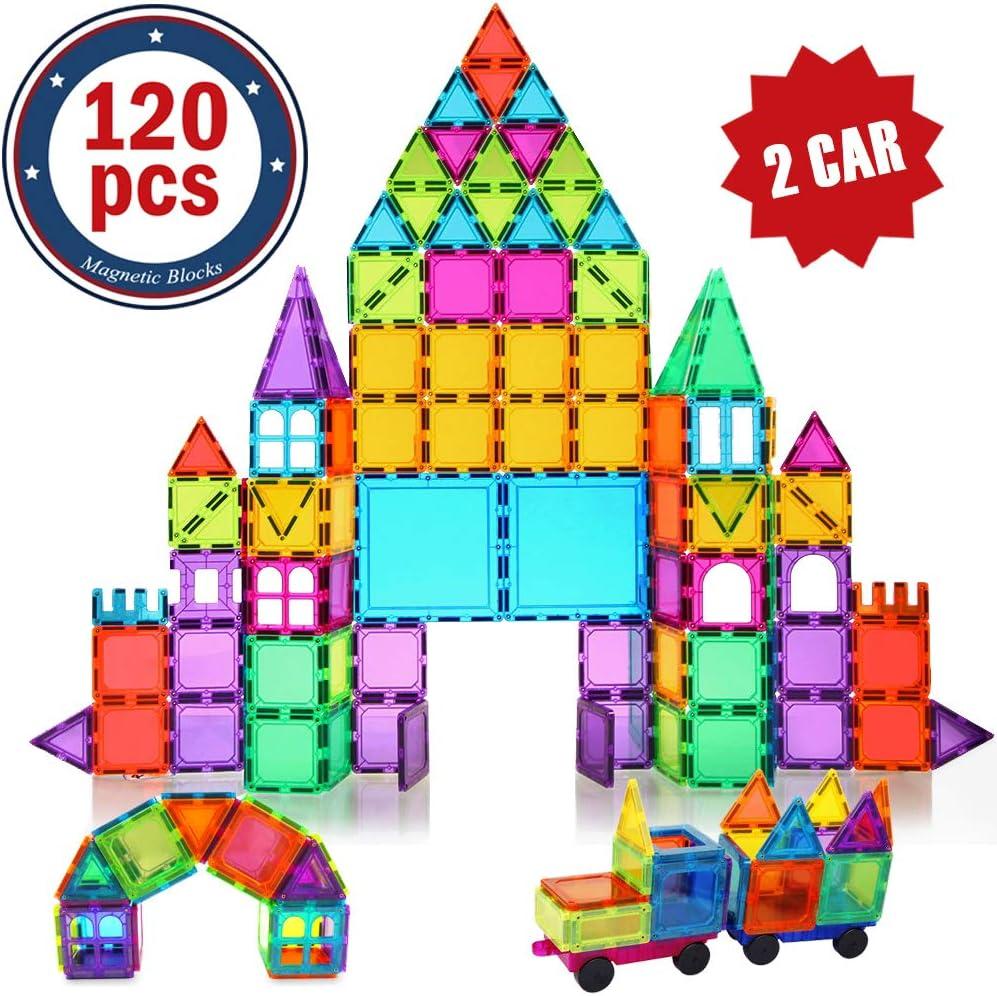 BMAG Magnetic Building Blocks for Kids, 3D Magnetic Building Tiles Set, STEM Preschool Construction Toys Educational Puzzles 120 PCS with 2 Cars