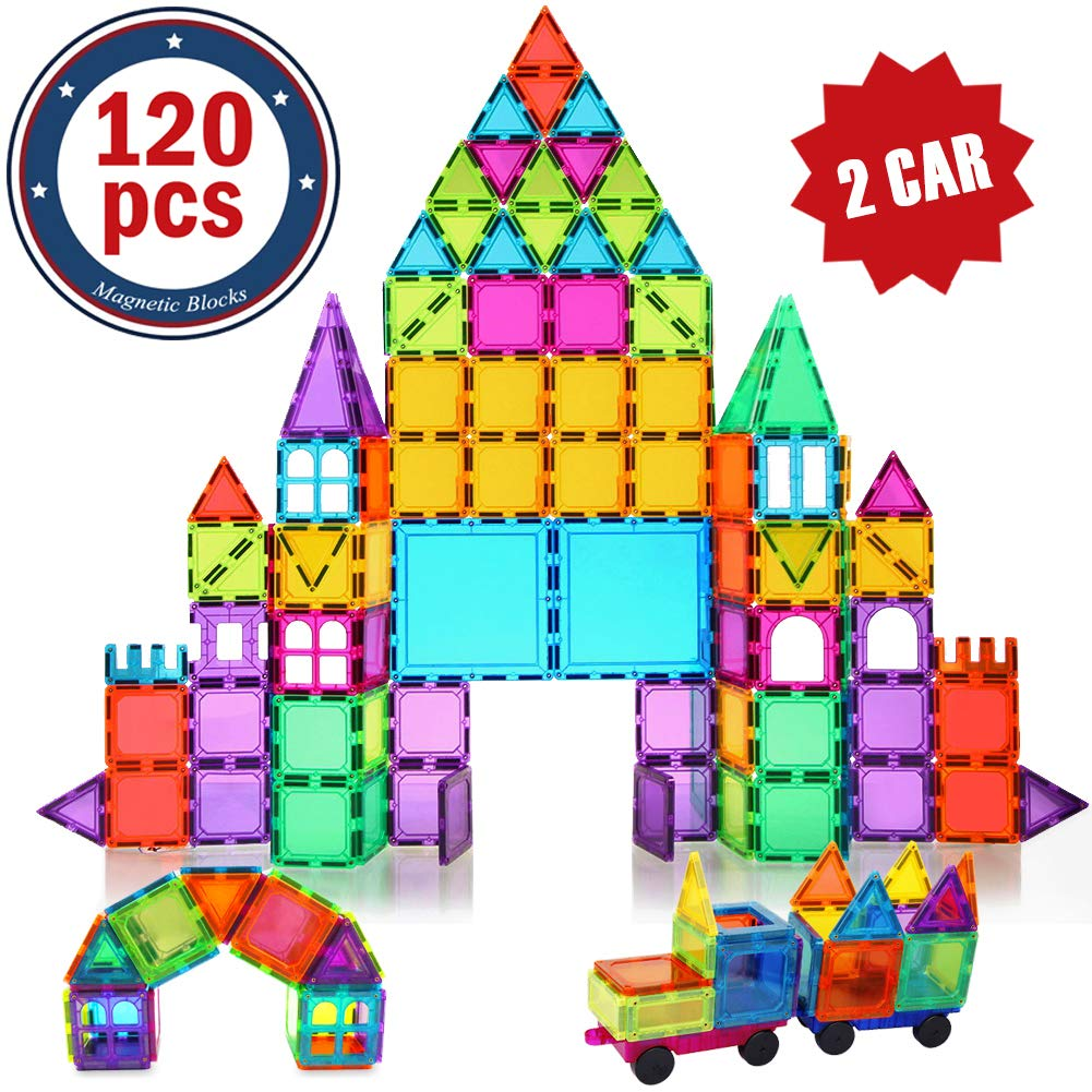 BMAG Magnetic Building Blocks for Kids, 3D Magnetic Building Tiles Set, STEM Preschool Construction Toys Educational Puzzles 120 PCS with 2 Cars by BMAG