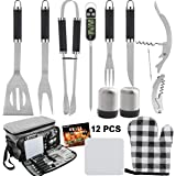 Grilljoy BBQ Grill Tools Set with Grey Insulated Cooler Bag - All-in-one Barbecue Picnic Cooler Bag - 12pcs Stainless Steel C