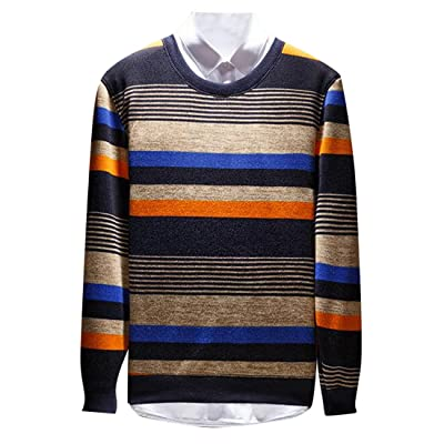Fensajomon Mens Winter Crew Neck Color Block Stripe Knitted Thermal Pullover Sweater