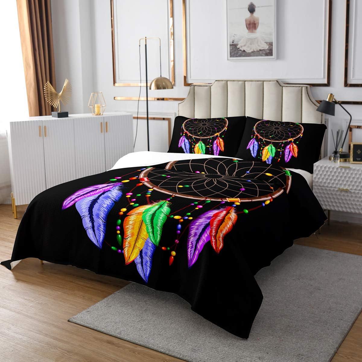 Erosebridal Dream Catcher Feather Quilted Coverlet King Size Bohemian Mandala Coverlet Set, Tie-Dye Spiral Bedspread for Kids Boys Girls Teens Boho Chic Floral Quilt Bedroom Decor