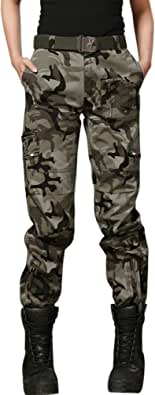 chouyatou Women's Military Straight Fit Stylish Combat Cargo Slacks Pants
