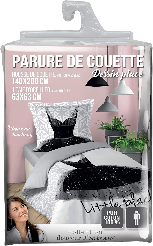 douceur dint/érieur parure 2 pi/èces 140x200 cm black dress