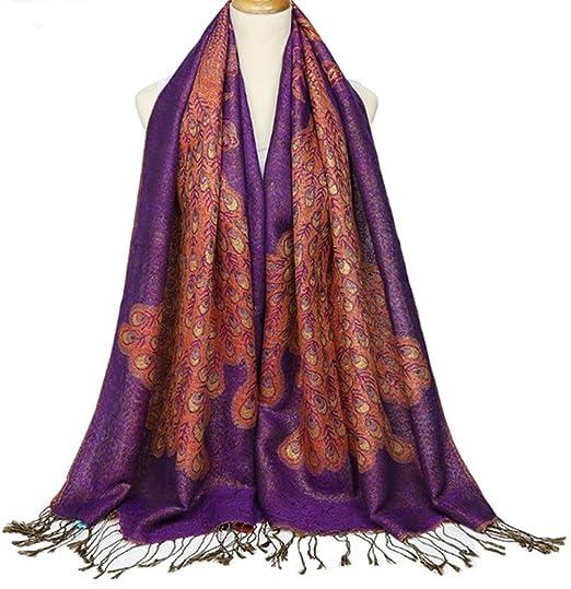 TOPSTORE01 Foulard Femme Paon Coton Écharpe Élégante Châle Chaud Étole  (Bleu)  Amazon.fr  Vêtements et accessoires d7fbf44f88a