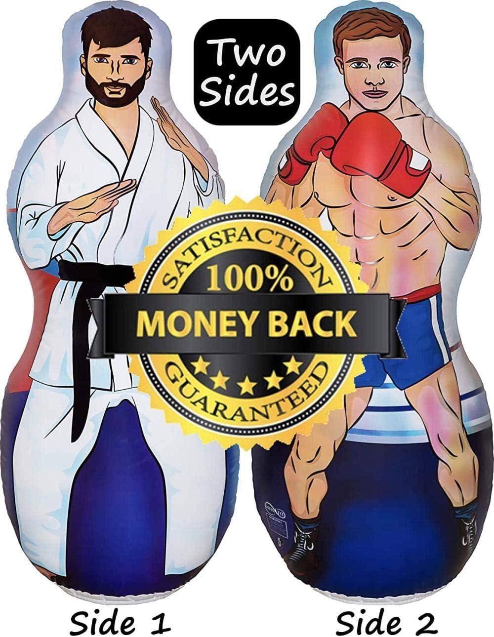WWOOP Saco inflable de boxeo y karate de dos caras con ilustraci/ón de un maestro de karate en un lado y boxeador en el reverso.