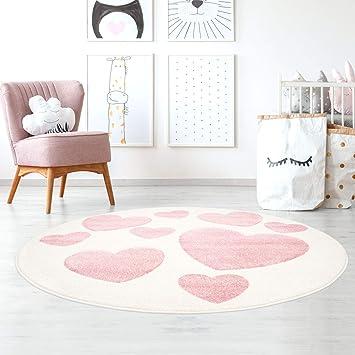 Taracarpet Kinderzimmerteppich für Mädchen süße Herzen Creme Rosa ...
