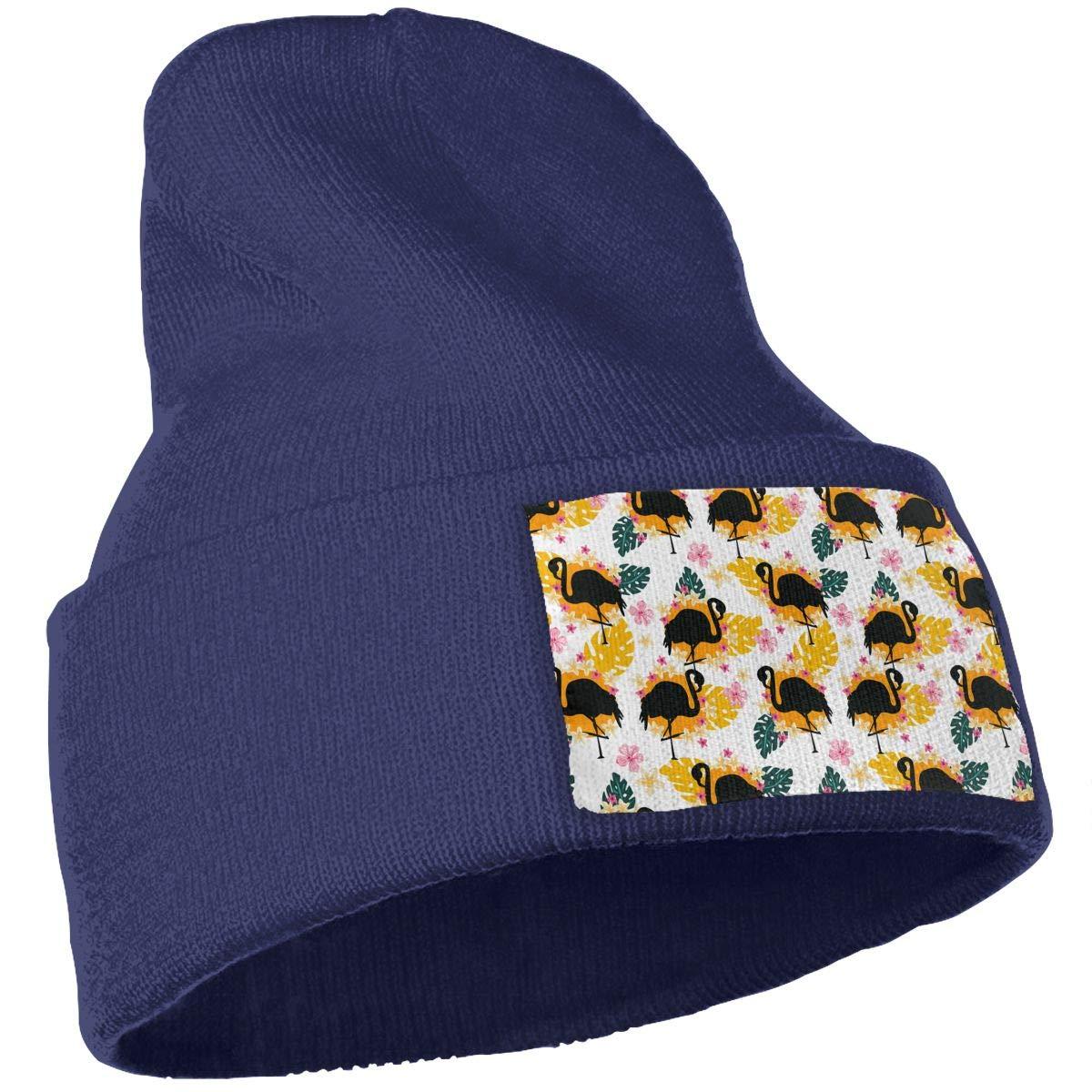 Black Flamingos Yellow Flowers Unisex Fashion Knitted Hat Luxury Hip-Hop Cap