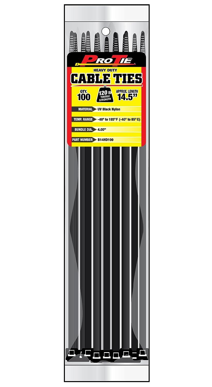 Pro Tie B14HD100 14.5 Inch Heavy Duty Standard Cable Tie UV Black Nylon 100 Pack