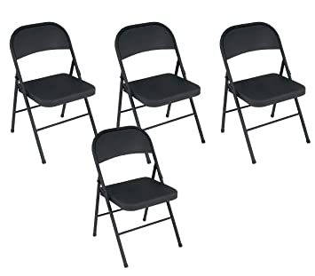 Astounding Cosco All Steel Folding Chair Black 4 Pack Squirreltailoven Fun Painted Chair Ideas Images Squirreltailovenorg