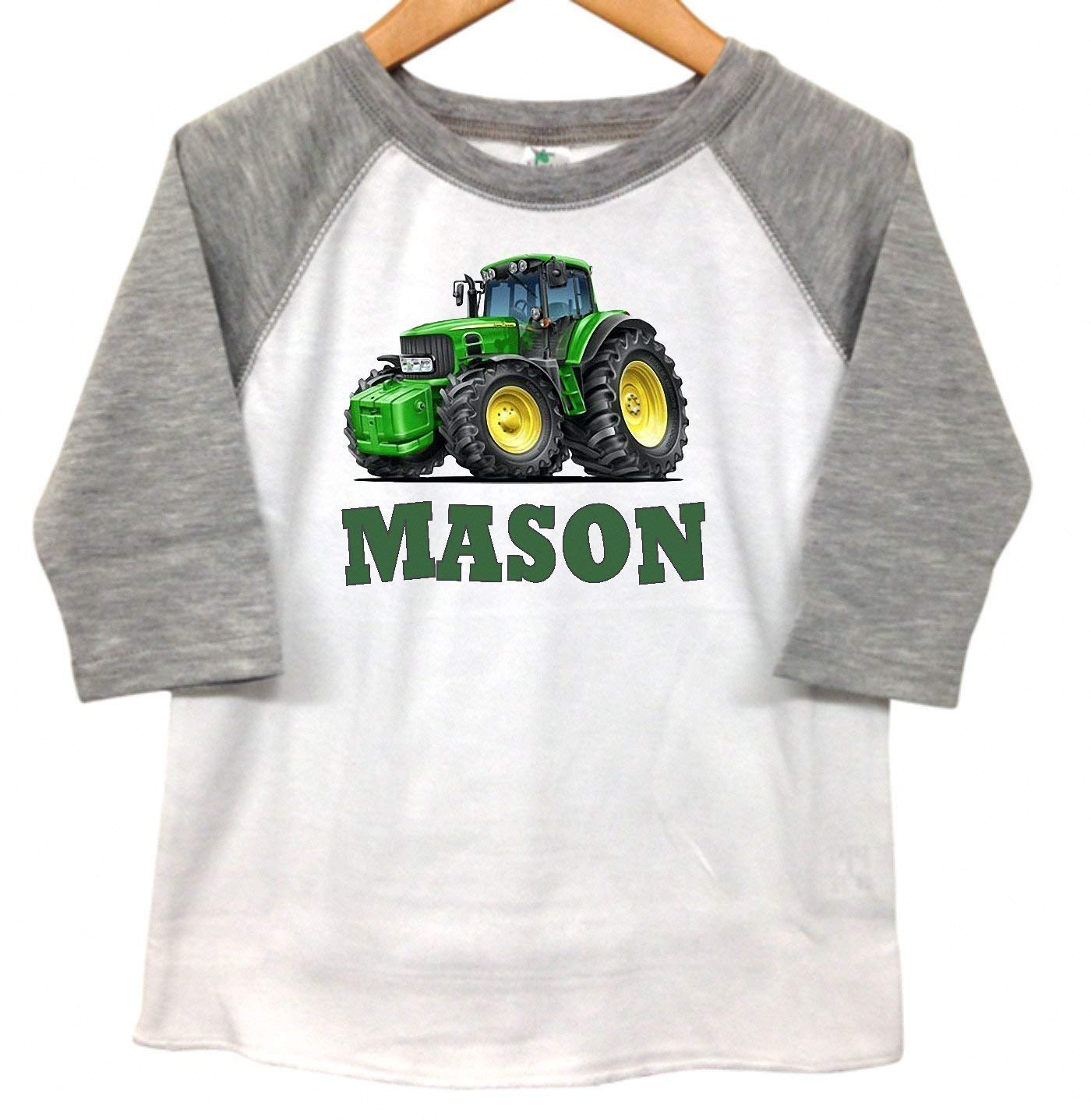Amazon Tractor Farm Boys Personalized Kids Toddler Raglan T