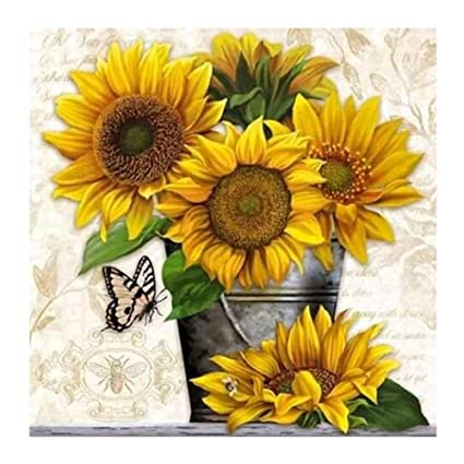 Amazon.com: Whitelotous Sunflower 5D Diamond Paint Kit DIY Cross ...