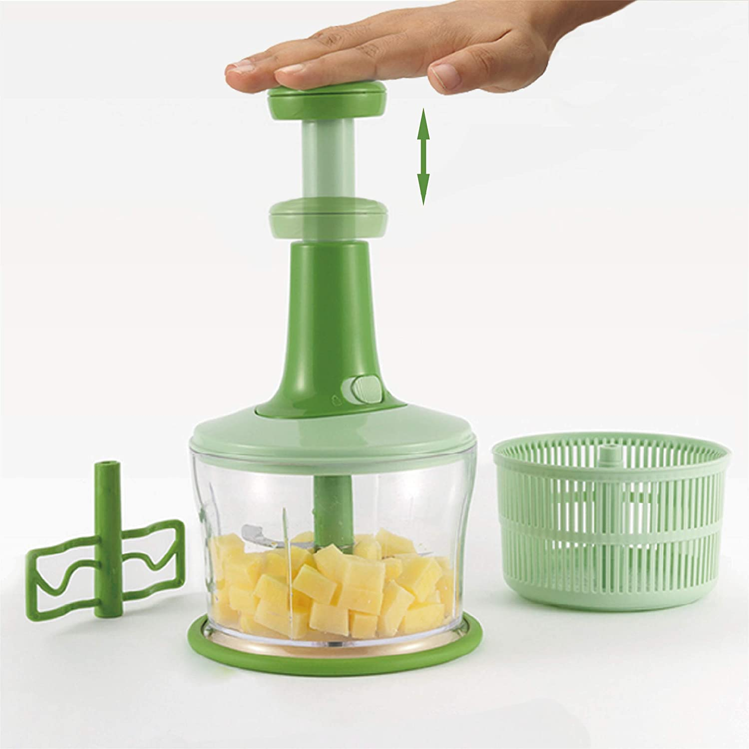 Food Chopper Handheld-Hand Food Chopper Large Cup Chop and Cut Fruits Vegetables Herbs Onions