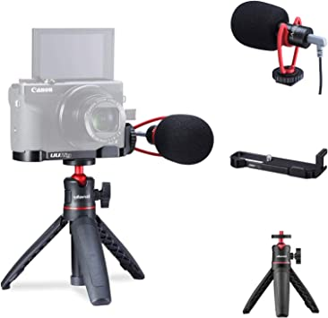 Gadget Place Bracket with Two Shoes for Microphone /& Video Light for Canon G1 X Mark III
