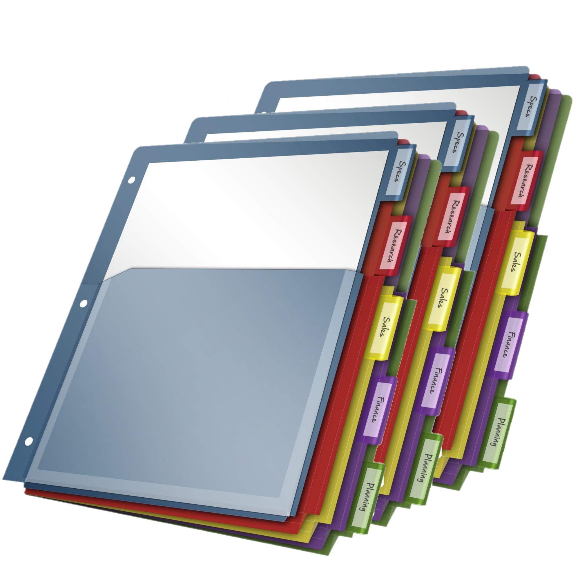 Cardinal Expanding Pocket Poly Divider, 5-Tab, Multi-Color (84012CB) (3)