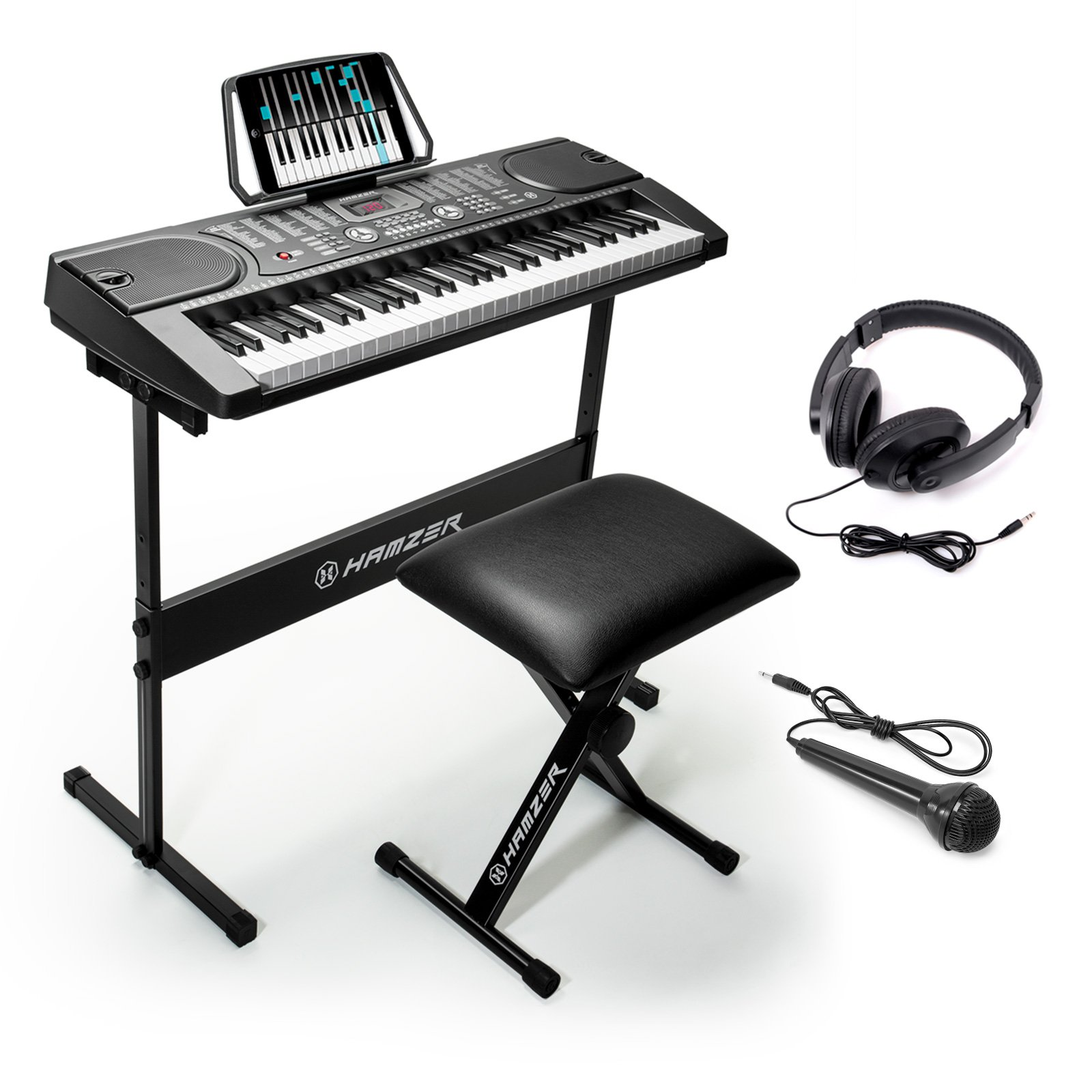 Hamzer 61-Key Digital Music Piano Keyboard – Portable Electronic Musical Instrument - with Stand, Stool, Headphones & Microphone by Hamzer