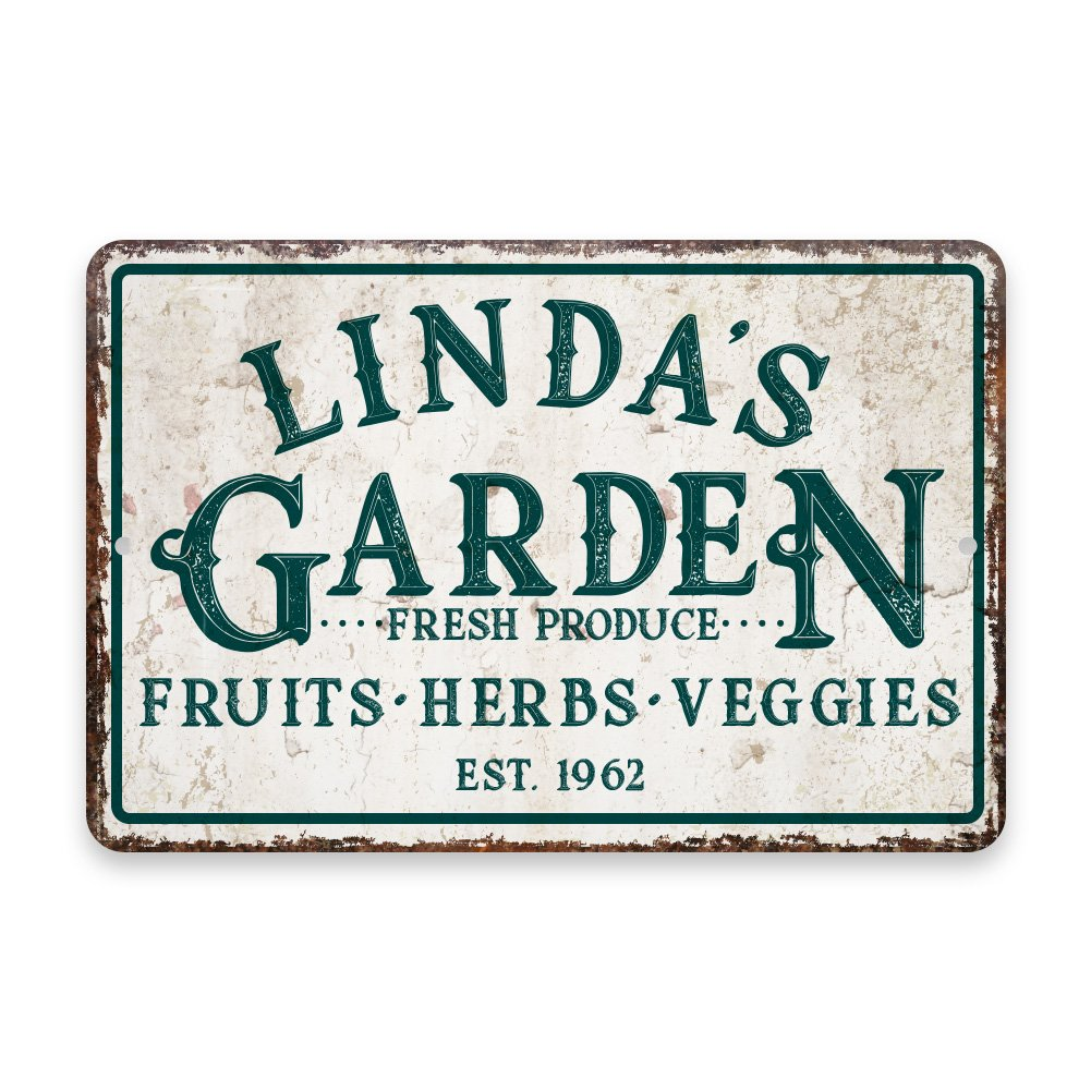 Personalized Vintage Distressed Look Fruit, Herbs and Veggie Garden Metal Room Sign